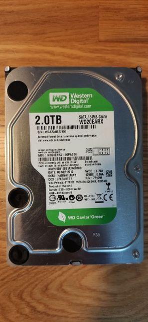 Dysk twardy SATA HDD 2TB WD WD20EARX 100% sprawny seria CAVIAR GREEN