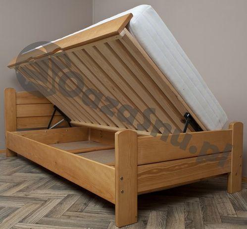 łóżko z pojemnikiem sosnowe z wysokim siedziskiem AZYL 160x200