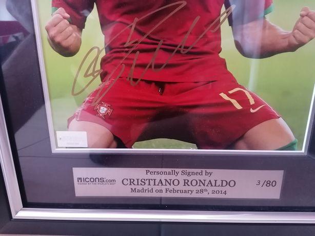 Quadro autografado e autênticado Cristiano Ronaldo