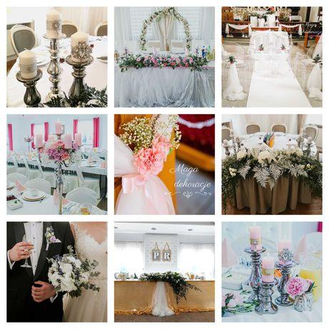 Dekoracje ślubne, biały dywan