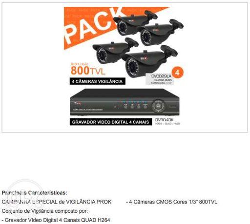 Pack Vigilância Video + 4 cameras 800 linhas