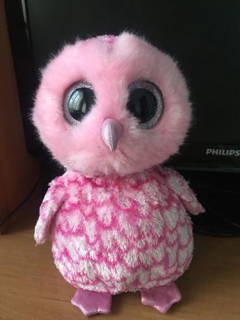 Мягкая игрушка  розовая сова 25 см глазастик Ty.