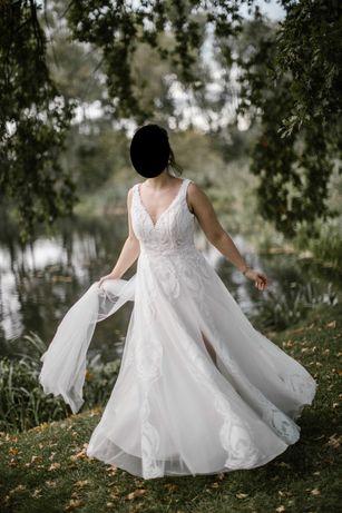 Suknia ślubna w stylu boho, kurtka i welon gratis