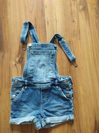 Ogrodniczki jeansowe krótkie h&m roz. 134