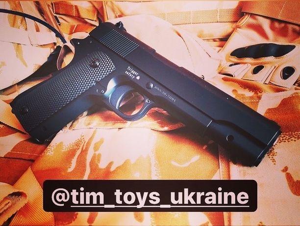 Страйкбольный Металлический пистолет 1в1 Colt Hi-Power (Air Soft)