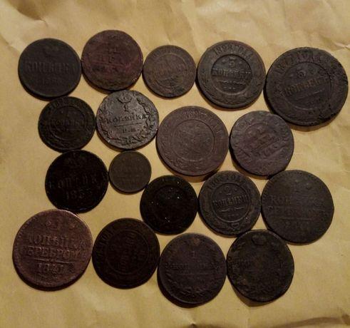 Монеты медные царские 18 штук.