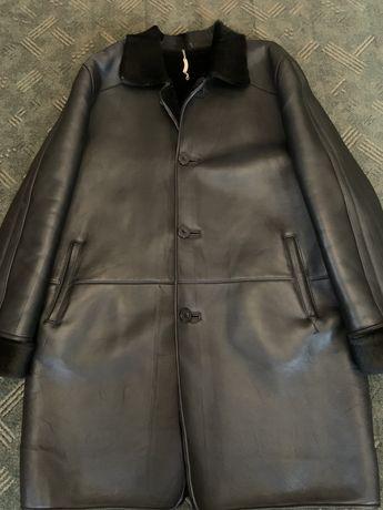 Мужское кожанное пальто зимнее