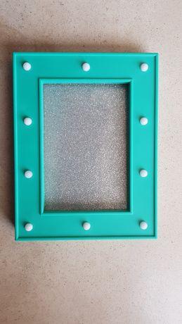 Moldura c/ luz azul turquesa/ verde agua