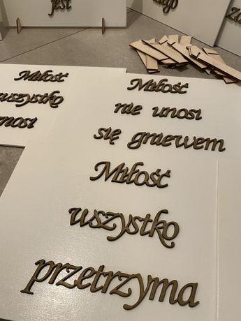 Hymn o milości 10 tabliczek ślub wesele dekoracja kościoła