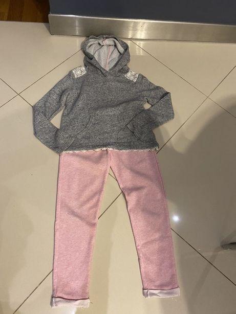 Dres dresik H&M 128 bluza z kapturem i spodnie dresowe komplet