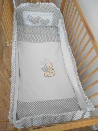 Ochraniacz na łóżeczko 120x60+falbanka maskująca+pościel