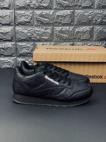 Reebok Classic чёрные кроссовки мужские кожа кросовки рибок кеды