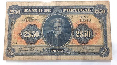 Nota 2.50 escudos Portugal 1925