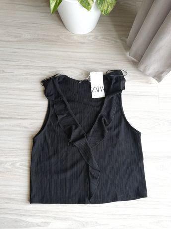 Nowa czarna bluzka z falbankami Zara