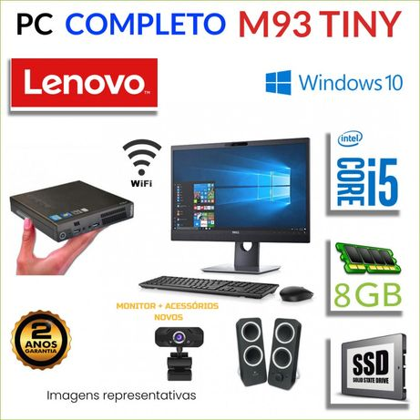 CONJUNTO AIO TUDO EM 1 MICRO/MINI PC LENOVO M93 i5-4570T 8GB RAM 120G