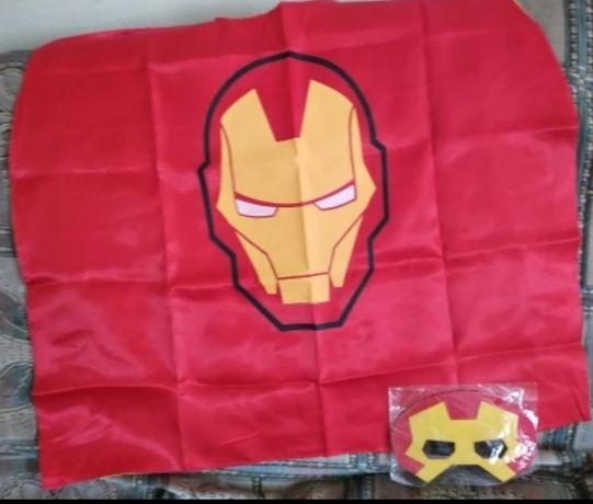 Strój Iron Man, peleryna, maska.