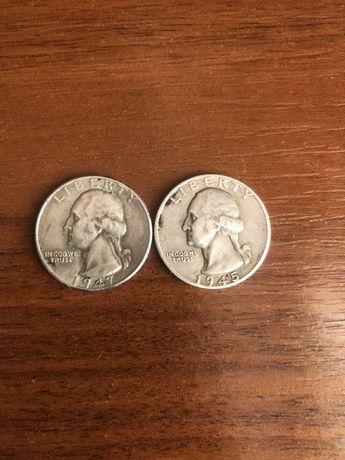 Монеты серебро Quarter Dollar 1945 и 1947