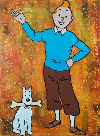 Tintin & Milu pintura original em tela