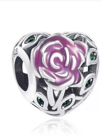 Zawieszka Charms Róża w sercu do pandora SREBRO 925