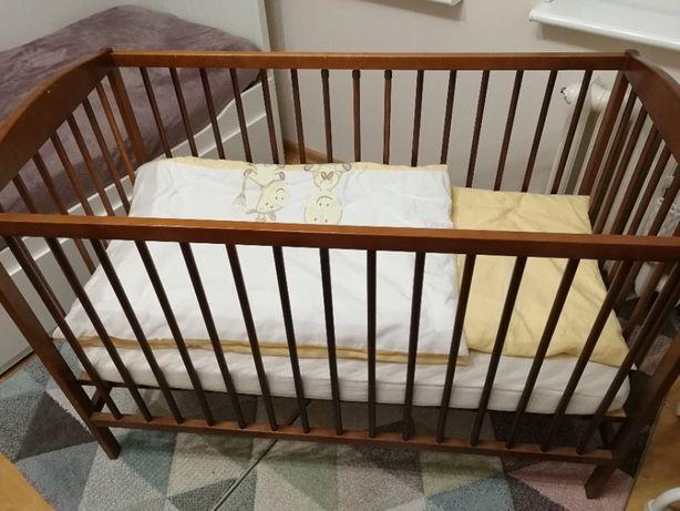 Łóżeczko dziecięce z materacem 120x60cm + pościele /mega zestaw