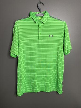 Under amour футболка зеленая желтая спортивная с воротником размер XL