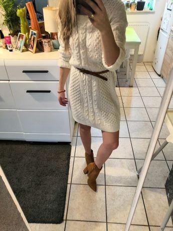 Długi sweterek sukienka m l hit blogowy