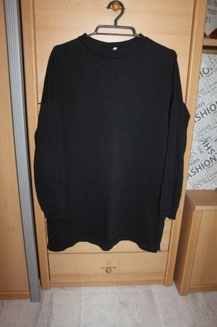 Czarna luźna dłuższa bluza tunika sukienka oversize dresowa