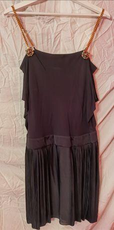 Vestido preto com alça de correntes original da Gucci