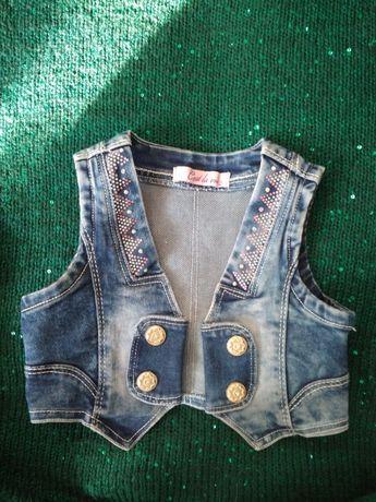 Kamizelka dziewczęca jeansowa/dżinsowa r.92