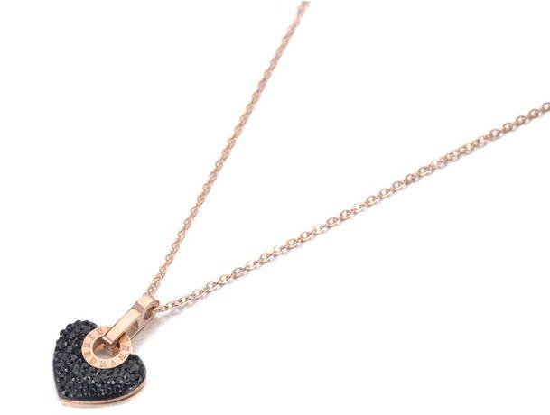 Łańcuszek wisiorek kryształy czarne serce cyfry rzymskie