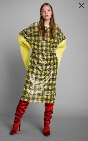 Nowa sukienka dzianinowa z cekinami -Zara S