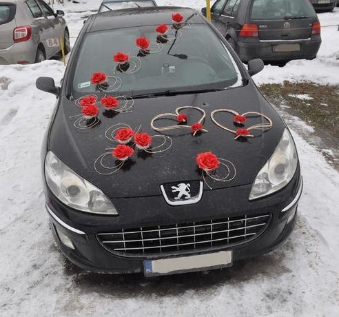 Dekoracja na samochód, duży komplet z kokardami