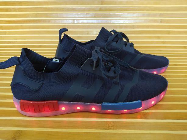 Светящиеся Led кроссовки текстильные синие кеды с подсветкой