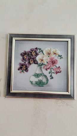 Картина Орхидеи вышитые бисером