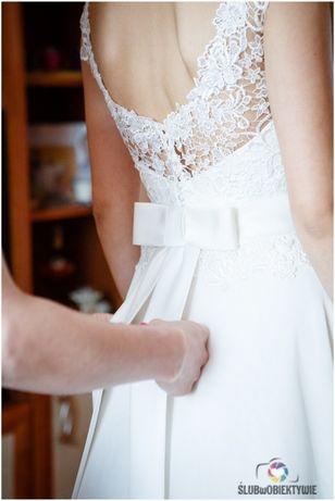Suknia ślubna - przepiękna koronka i delikatny muślin