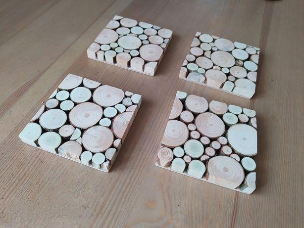 Zestaw drewnianych podkładek, 4 sztuki, plastry drewna