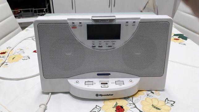 Rádio/Relógio com USB/SD