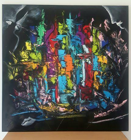 UWIKŁANI  obraz olejny duży 80x80 faktura farby KatarzynaArt