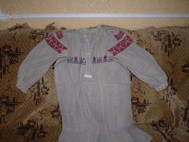 Старинная вышиванка из льна ручной работы. 44-48 размер