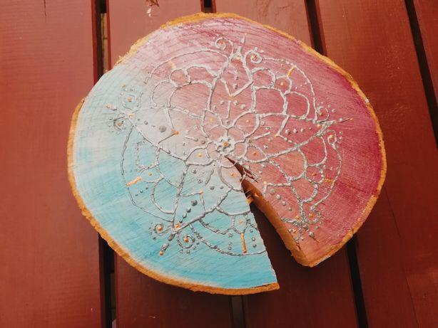 Obraz na plastrze drewna we wzory na tle ombre, 26cm