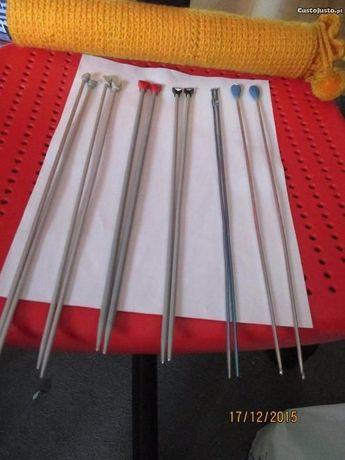 6 pares de agulhas para tricotar mais + depósito de agulhas