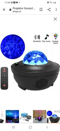 Projektor lampka bluetooth