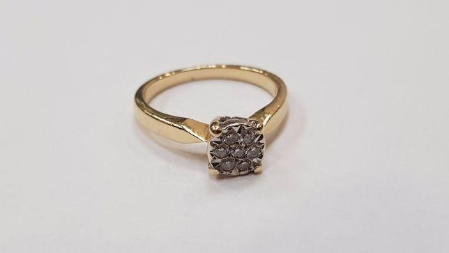 YES! Złoty pierścionek/ 585/ 2.95 gram/ R10/ 7 brylantów/ 0.1 CT/ Gdyn