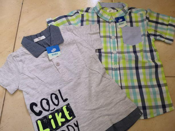 2 nowe koszulki na krótki rękaw dla chłopca w rozmarze 92,wysyłka 1zł