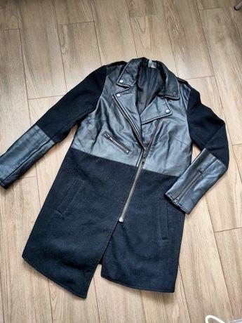 Пальто чёрное с кожаными вставками Xs-S
