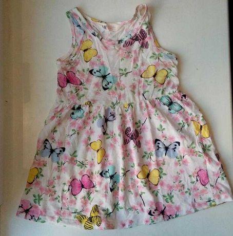 Хлопковое платье сарафан с бабочками H&M