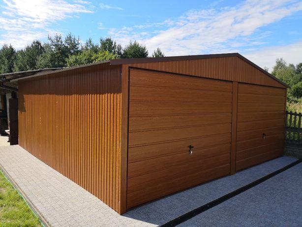 Garaże,garaż blaszany 6x5,6x6 ORZECH panel poziomy PRODUCENT