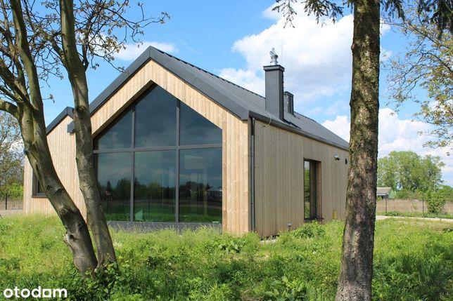 Dom z litego drewna, duża działka, rekuperacja