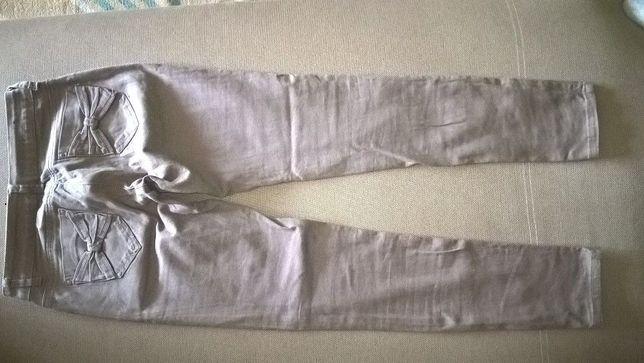 spodnie brazowe jeans rurki r.36