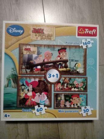 Puzzle Jake i piraci z Nibylandii Disney zastaw 4 układanek